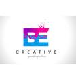 be b e letter logo with shattered broken blue vector image vector image