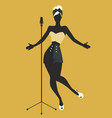 beautiful and tattooed pin-up girl singing vector image vector image