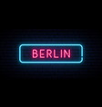 berlin neon sign bright light signboard banner vector image vector image