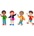 boy and girl with backpack waving their hands vector image