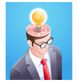 brain maze with light bulb in businessman head vector image vector image