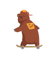 cartoon bear riding ob skateboard sticker on his vector image vector image