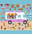 cartoon color wagon track summer food and elements vector image vector image