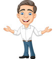 cartoon happy young businessman and presenting vector image