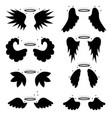 cartoon silhouette black angel wings set vector image vector image