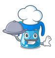 chef with food cartoon baby drinking from training vector image