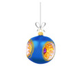 christmas blue glass ball with with gold vector image