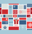 christmas gift boxes pattern with ribbons in hand vector image vector image