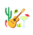 cinco de mayo 5th may guitar margarita cactus vector image vector image