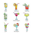 cocktails collection alcoholic drinks vector image vector image