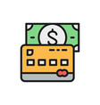 credit bank card with money flat color line icon vector image vector image