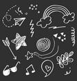 doodle set elements white on black background vector image