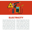 electricity informative poster with equipment and vector image vector image
