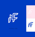 ff initial letters and bird flat line style logo vector image