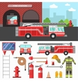 Firefighting department and equipment set vector image vector image