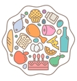Flat Food icons quality style logo vector image vector image
