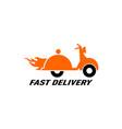 food delivery vintage scooter logo vector image