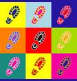 footprint boot sign pop-art style vector image