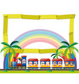 frame template with kids on the train vector image vector image
