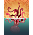 Giant octopus under the ocean vector image vector image