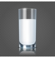 Glass of milk isolated on transparent checkered vector image vector image