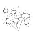 hand drawn doodle fireworks icon vector image vector image