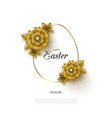 happy easter background with golden frame vector image vector image