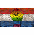 lgbt protest fist on a netherlands brick wall flag vector image