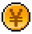 pixel yen yuan or renminbi coin - isolated vector image vector image