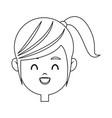 portrait pretty little girl happy outline vector image vector image