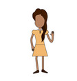 pretty girl with hand up and nice dress vector image vector image