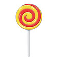 red and yellow swirl lollipop sugar candy vector image vector image