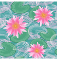 Seamless pattern with pink water lilies vector image vector image