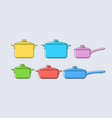 set of pots and pans vector image vector image