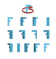 sheet of sprites rotation of cartoon 3d letter f vector image vector image