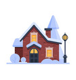 snowy suburban house cute rural winter cottage vector image vector image