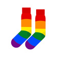 Socks with LGBT flag Rainbow colored socks gay vector image