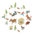 stray animals icons set isometric style vector image