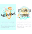 sweet wonderful summer posters with fresh drink vector image vector image