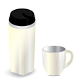 Thermos bottle with cup isolated on white vector image