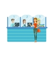 Three Bank Operators In Glass Cubicles And Woman vector image vector image