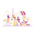 tiny male female character on shelf with huge vector image vector image