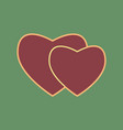 two hearts sign cordovan icon and mellow vector image vector image