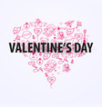 valentines day banner with doodle background 14 vector image
