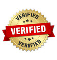 verified 3d gold badge with red ribbon vector image vector image