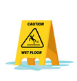 wet floor classic yellow caution warning vector image