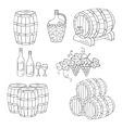 Wine barrels set vector image vector image