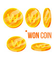 won coin gambling golden money currency set vector image vector image