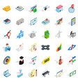 working contract icons set isometric style vector image vector image