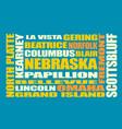 nebraska state cities list vector image